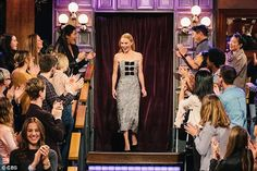Grand entrance: The elegant actress bathed in applause as she made her way onto the stage...