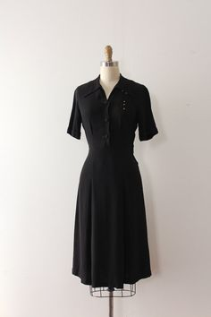 vintage 1940s dress // 40s studded bow black by TrunkofDresses