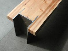 Madera y Metal en muebles de diseño. Banco de madera de cedro y perfil estructural de acero • Wood and Steel in furniture design. Bench by Quartertwenty in etsy