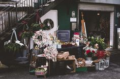 Christmas wreaths and flowers at Wild Artichokes Pop Up