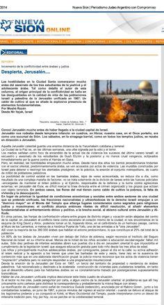 """Jerusalem Artículo: DESPIERTA, JERUSALEM... Periódico """"Nueva Sión"""", Buenos Aires, 5 de noviembre de 2014. www.nuevasion.com.ar/articulo.php?id=6104"""