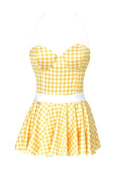 This gingham swimsuit evokes the cheery styles of the 1950s. It's perfect for a day in the sun, whether or not you cruise the boardwalk.