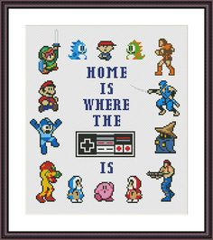 Home is Where the NES is Funny Cross Stitch Pattern PDF