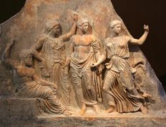 Relief of the Gods; left to right; Zeus, Leto, Apollo and Artemis - circa 450 - 400 BC, at the Brauron Greek History, Ancient History, Art History, European History, Ancient Aliens, Ancient Greek Art, Ancient Greece, Roman Sculpture, Sculpture Art