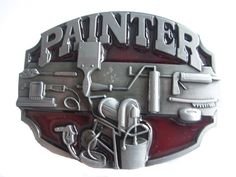Painter belt buckle - paint brush painters tools trade belt buckle