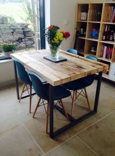 Reclaimed Industrial Chic Seater Solid Wood And Metal Dining Table. Cafe  Bar Restaurant Furniture Steel And Wood Made To Measure 247