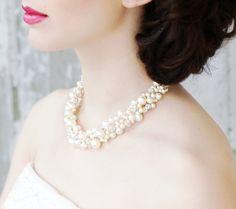 Rhinestone Fireball, Swarovski Pearl, and Crystal Bridal Necklace