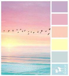 Soft pastel sky and ocean colours Pink Color Schemes, Pastel Colour Palette, Living Room Color Schemes, Colour Pallette, Pastel Colors, Soft Colors, Mode Pastel, Pastel Sky, Pastel Shades