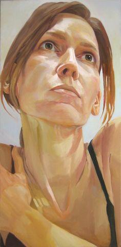 """Lori 3"" - Stephen Wright, oil on canvas {contemporary figurative art female head woman face portrait painting} stephenwrightart.com"