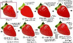 【飯テロ注意】Pixivに投稿された『リアルな苺の描き方』。他の料理のイラスト作品も超美味そうでリアル