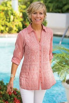 Tunic - Soft Surroundings offers stylish, luxurious & comfortable women's clothes for every size. Feel your best in the softest fabrics from Soft Surroundings. Classic Outfits, Cool Outfits, Casual Outfits, Soft Surroundings Clothing, Ethinic Wear, Fifties Fashion, Short Tops, Comfortable Outfits, Style Me