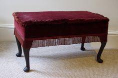Before photo of the velvet footstool