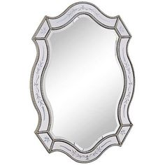 """Corone Etched Glass 28"""" x 40"""" Wall Mirror - #6H105 