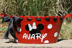 Minnie Mouse/Mickey Mouse Theme----Personalized Oval Metal Tub/ Ice Bucket on Etsy, $32.00
