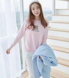 Korean-style - multi-colored wild cartoon embroidery sweater