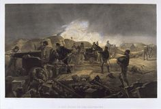 'A Hot Night in the Batteries', by William Simpson, 1854 (lithograph). William Simpson (1823-99) was a Scottish painter who became noted for his depictions of the Crimean War (1853-6)