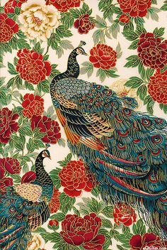 Imperial Peacocks from Oriental Traditions 10 collection by Robert Kaufman Fabrics. Peacock Fabric, Peacock Art, Peacock Tattoo, Chinoiserie, Textures Patterns, Print Patterns, Lapin Art, Art Asiatique, Art Japonais