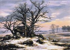 Johan Christian Dahl - Megalith Grave in Winter. Also his winter at the sognefjord