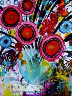 Blumenstrauss Malerei Malerei Natur Landschaft von CelineArtGalerie