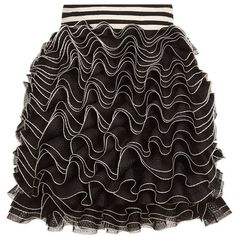 Alexander McQueen Ruffle Mini Skirt (90.375 RUB) ❤ liked on Polyvore featuring skirts, mini skirts, flouncy skirt, striped skirts, short skirts, short mini skirts and elastic skirt