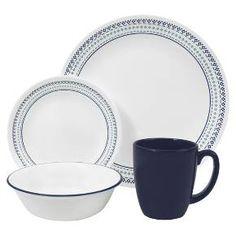 Corelle Livingware Stitch 16 Piece Dinnerware Set - Blue : Target