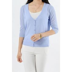 Yoins Yoins Baby Blue Lightweight Knit Mini Cardigan ($14) ❤ liked on Polyvore featuring tops, cardigans, blue, shirts & tops, half sleeve shirts, button up cardigan, button down cardigan, v-neck shirts and button-down shirt