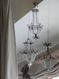 Mini wire chandeliers