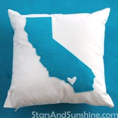 Blue Felt California Pillow - who wants a pillow with their state besides us?!  #california #felt #pillow #statepillow