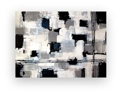 Black and White Acrylic Abstract Painting TITLE by OraBirenbaumArt, $365.00