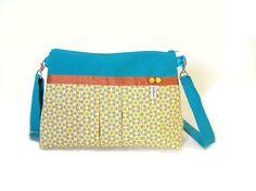 sac a main en bandouliere turquoise et jaune pale tissu imprimé vintage sac bandouliere plissé : Sacs bandoulière par tchai-walla