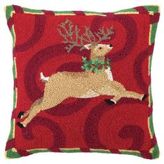 Leaping Reindeer Pillow
