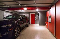 Garage Makeover with Beautiful Garage Storage Cabinets, Garage Flooring and Garage Wall Organization System