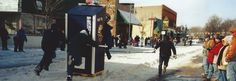 Outhouse Race in downtown Sault Ste. Marie, Michigan. This event takes place in late February.