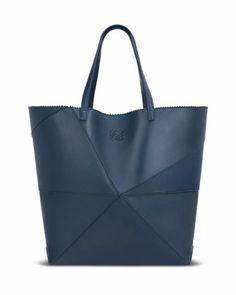 Lia Origami Leather Tote Bag, Navy by Loewe at Bergdorf Goodman.