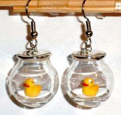 Ohrringe Ente handgefertigt Modeschmuck Damen Hänger Edelstahl Glas Neuware