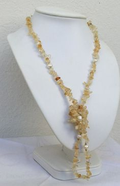 Citrine necklace November birthstone with freshwater pearls by CarlaDiVolpe on Etsy