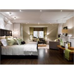 Neutral master bedroom with one color...love the green