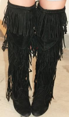 $29.99 Twisted Shelly Extra Wide Fringe Boot In Black - Beyond the ...