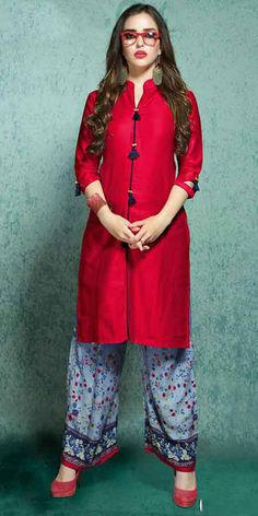 Vivously Red Rayon Cotton Kurti. #Nallucollection