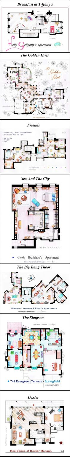 Floorplans from tv shows.