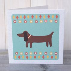 Digitally printed sausage (weiner) dog greetings card printed on recycled card in Scotland.