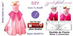 ¡Atrévete e inicia hoy tu propio negocio de moda y empieza a ganar buen dinero! Descarga gratis los moldes vestido de fiesta de niñas y jovencitas y cóselos