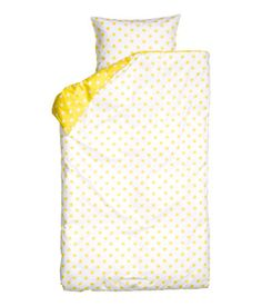Yellow and White Polka Dot Duvet Quilt Cover Set Twin Cotton Reversible Yellow Duvet, Cute Pillows, H&m Online, Quilt Cover, Duvet Cover Sets, Kids Room, Kids Fashion, Polka Dots, Quilts
