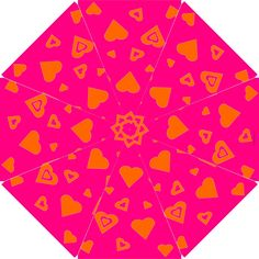 """Gorgeous """"Hot Pink and Orange Hearts"""" Hook Handle Umbrella (Large)  #gifts $44.99"""