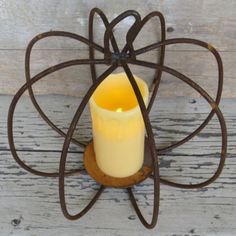 WROUGHT IRON PUMPKIN CENTERPIECE Rusty 3-D Candle Holder Fall Halloween Pillar