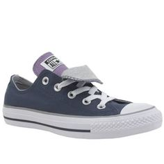 66f1e07a6cbc womens converse navy   grey all star double tongue ox trainers