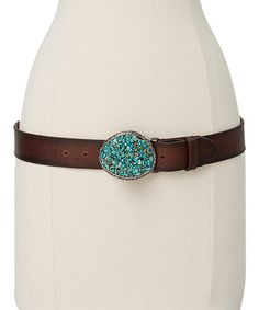 Another great find on #zulily! Turquoise & Brown Leather Buckle Belt by I Love Accessories #zulilyfinds