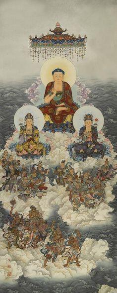 Buddha Decor, Buddha Art, Amitabha Buddha, Gods And Goddesses, Ancient Art, Chinese Art, Deities, Buddhism, Art Drawings