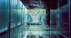 Les Cols Pavilions by 2017 Pritzker Prize Winner - RCR Arquitectes Water Architecture, Sustainable Architecture, Contemporary Architecture, Architecture Design, Pavilion Architecture, Residential Architecture, Showroom Interior Design, Modern Interior Design, Glass Building