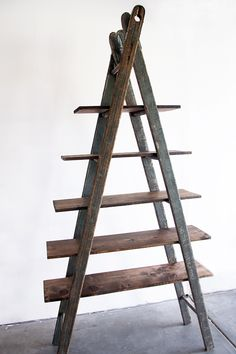 Need to find an old ladder, stat! Ladder Bookshelf. Nightstand + additional storage.